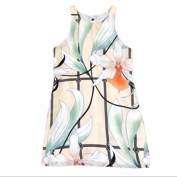 Designer Shona Joy Floral Print Shift Dress As NEW